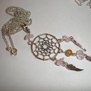 Rose Quartz Dreamcatcher Necklace